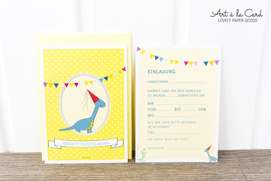 Geburtstags-Einladungskarten-Set:  Dinosaurier