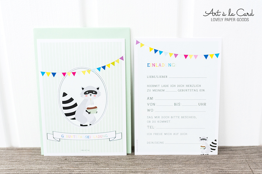 Geburtstags-Einladungskarten-Set:  Waschbär