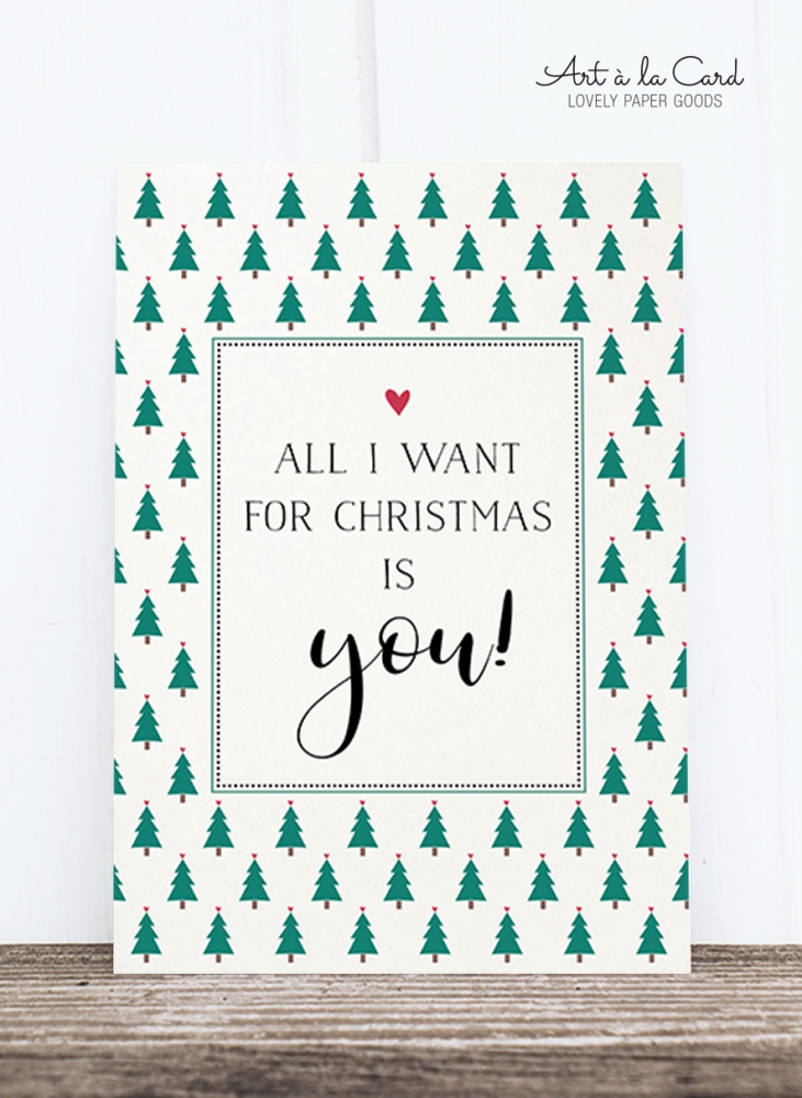 Bild 1 von Holzschliff-Postkarte: All I want for Christmas, HF