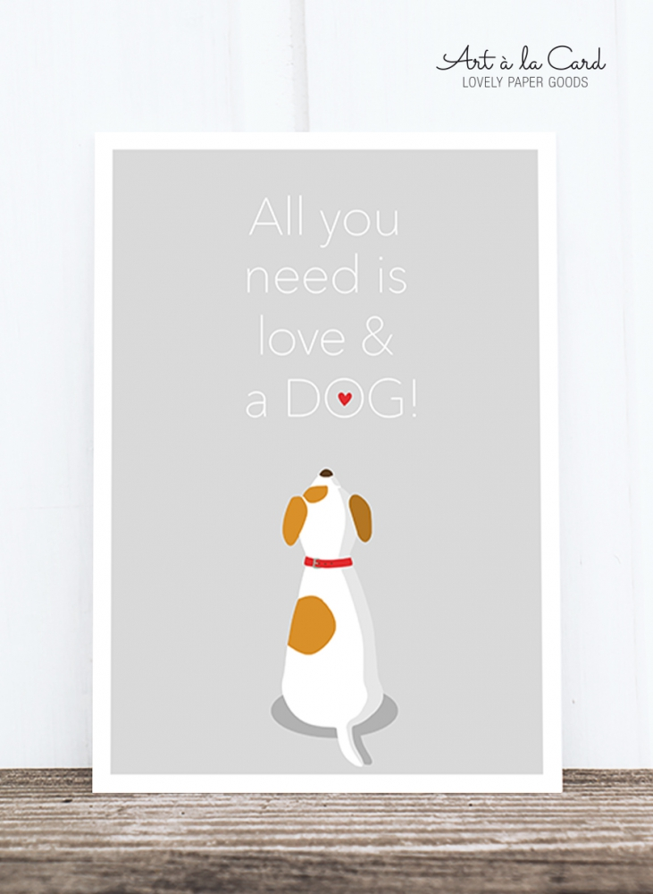 Bild 1 von Postkarte: All you need is love and a dog HF
