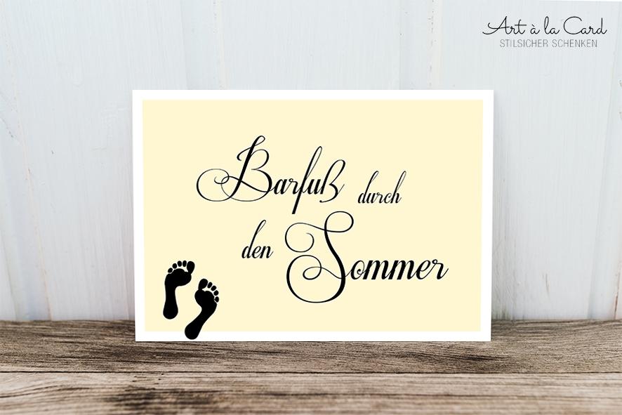 Postkarte Barfuß Durch Den Sommer Art à La Card Lovely Paper