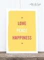 Postkarte: Love, Peace, Happiness HF