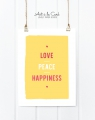 Kunstdruck: Love, Peace, Happiness